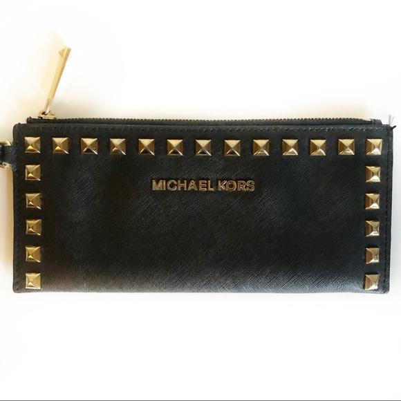 Michael Kors Handbags - Michael Kors Black and Gold Studded Wristlet